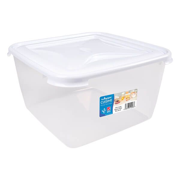 Wham Cuisine 15L Clear & Ice White Large Square Food Box & Lid