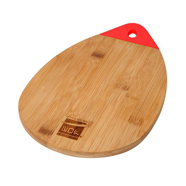 School of Wok Bamboo Chopping Board With Silicone Handle, Large