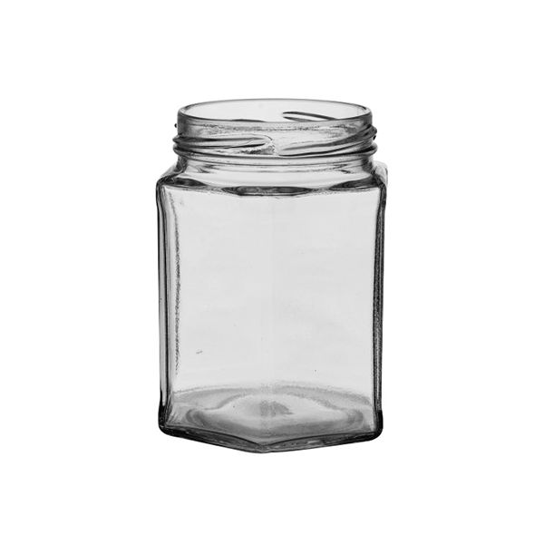 Set Of Six 12 oz Hexagonal Jars & Lids