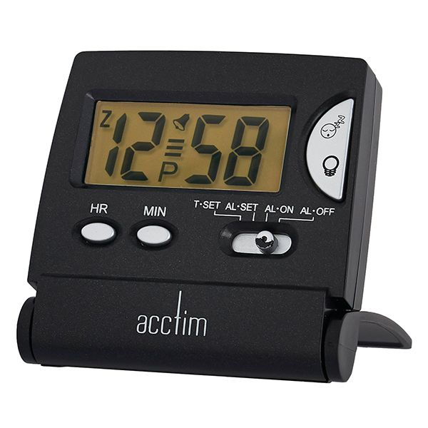 Acctim Mini LCD Flip Alarm Clock Black