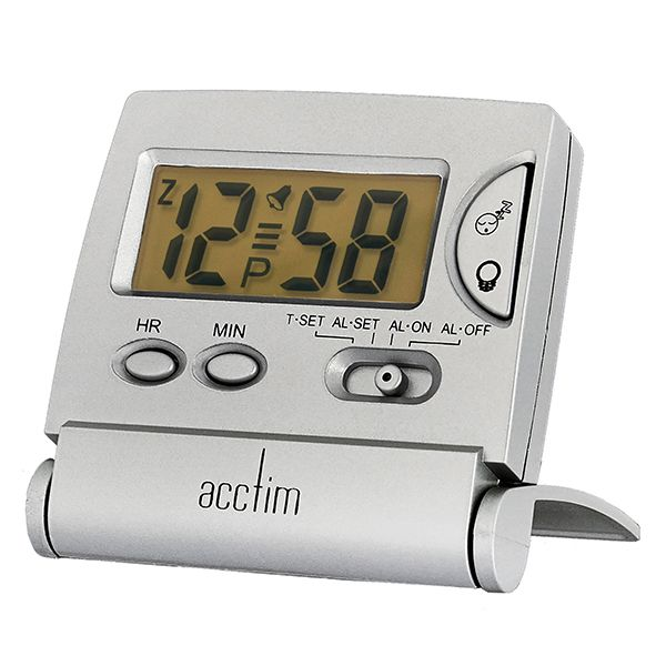 Acctim Mini LCD Flip Alarm Clock Silver