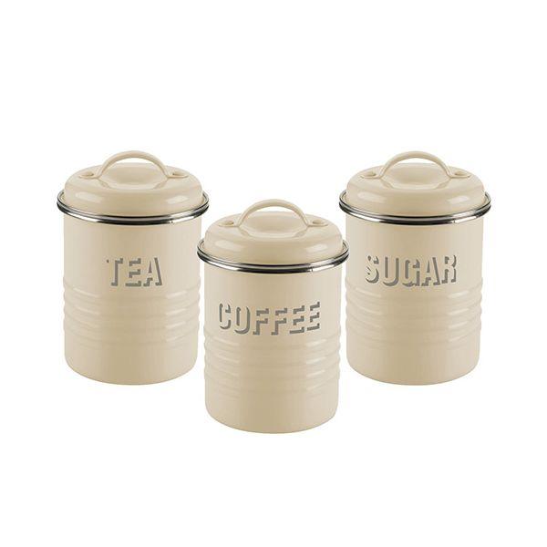 Typhoon Vintage Kitchen Set Of 3 Storage Cannisters Cream
