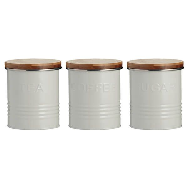 Typhoon 3 Piece Tea, Coffee, Sugar Storage Canister Set Cream