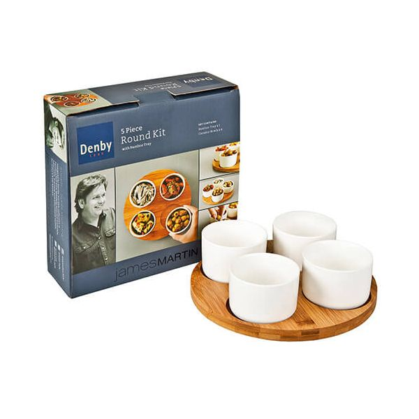 James Martin Denby 5 Piece Dip Bowl Kit With Round Bamboo Board