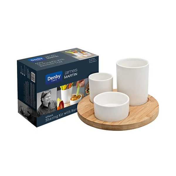 James Martin Denby 4 Piece Sharing Kit With Bamboo Board