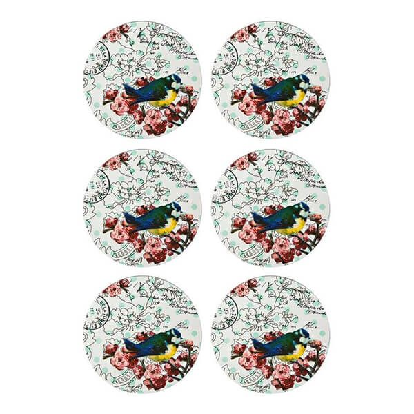 Denby Set Of 6 Vintage Bird Coasters