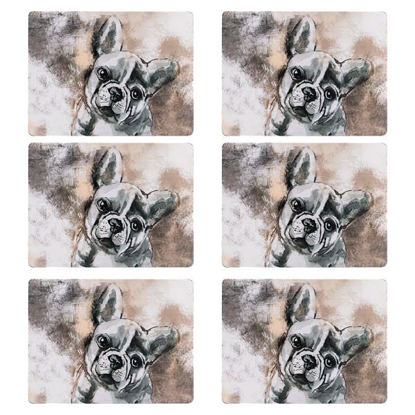 Denby Set Of 6 French Bull Dog Placemats