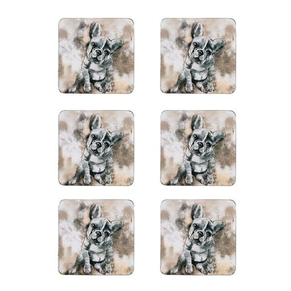 Denby Set Of 6 French Bull Dog Coasters