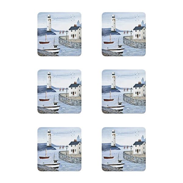 Denby Set Of 6 Coastal Lighthouse Coasters