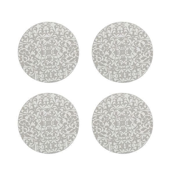 Denby Monsoon Filigree Silver Set Of 4 Round Coaster