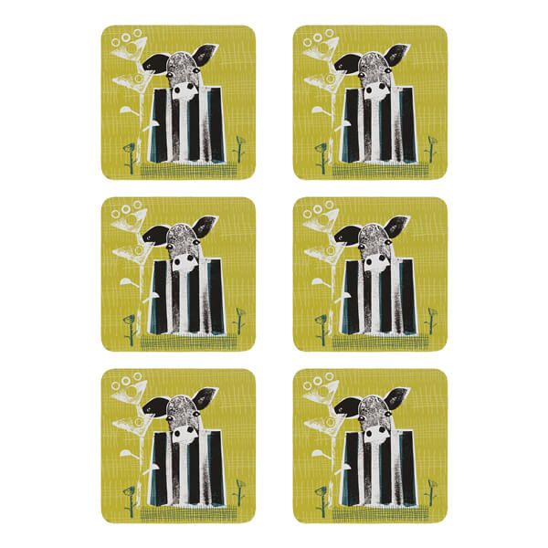 Denby Set Of 6 Cow Coasters