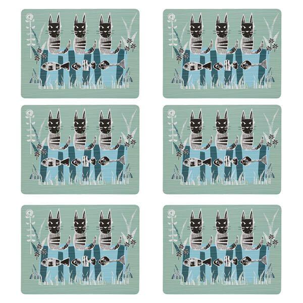 Denby Set Of 6 Cat Placemats