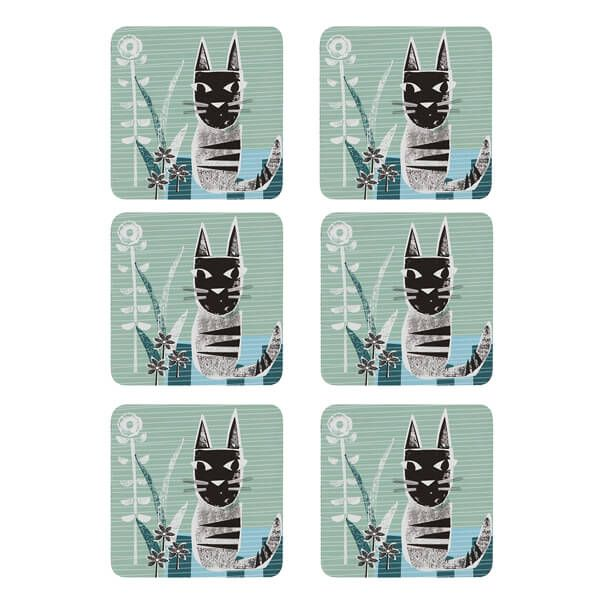Denby Set Of 6 Cat Coasters