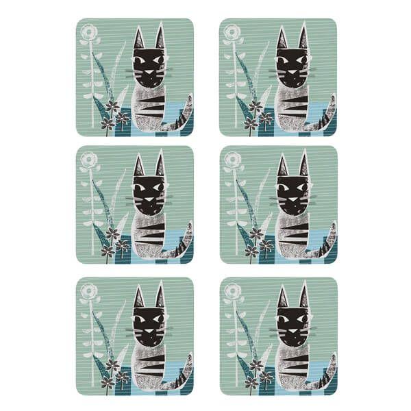 Denby Set Of 6 Cat Coasters