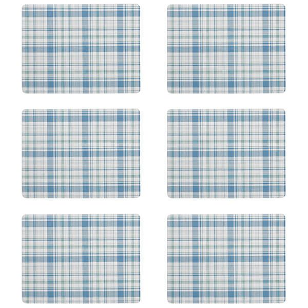 Denby Elements Checks Green / Blue 6 Piece Placemats