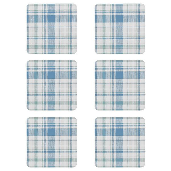 Denby Elements Checks Green / Blue 6 Piece Coasters