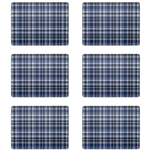 Denby Elements Checks Blue / Black 6 Piece Placemats