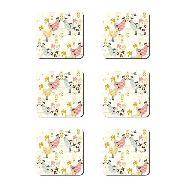 Denby Set Of 6 Hens Coasters