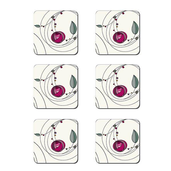 Denby Set Of 6 Tiffany Rose Double Coasters