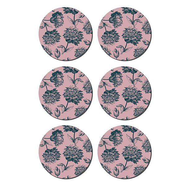 Denby Set Of 6 Rose Engraved Floral Round Coasters