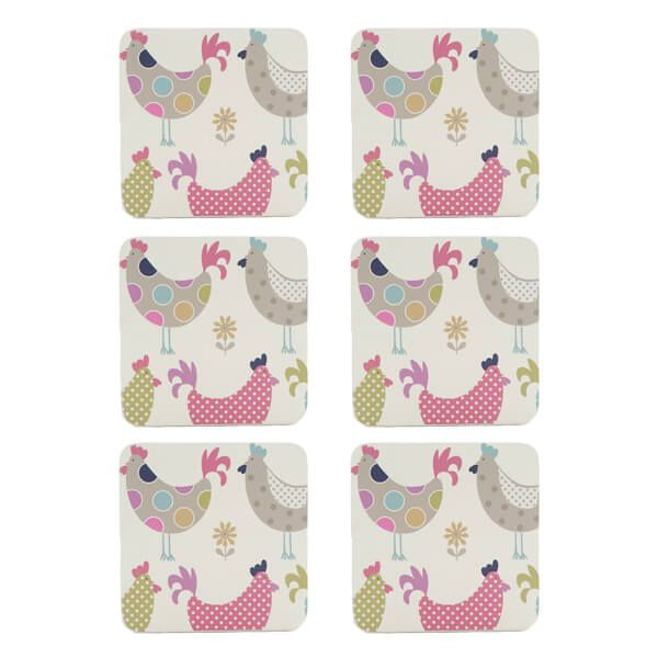 Denby Set Of 6 Cockerel And Hens Coasters