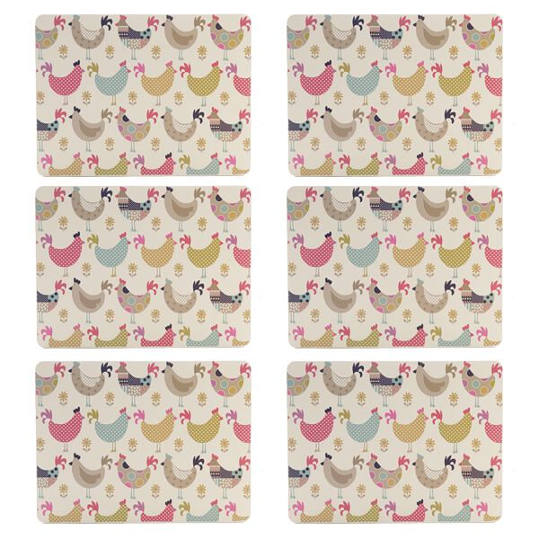 Denby Set Of 6 Cockerel And Hens Placemats