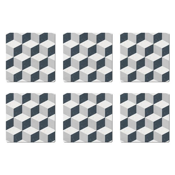 Denby Grey Geometric Square Set Of 6 Placemats