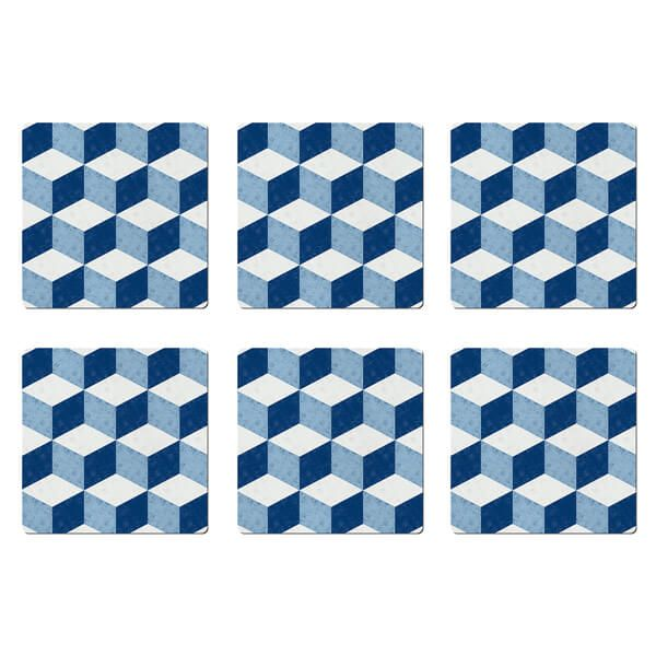 Denby Blue Geometric Square Set Of 6 Placemats