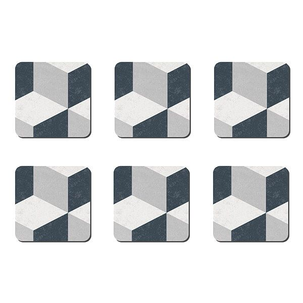 Denby Grey Geometric Square Set Of 6 Coasters