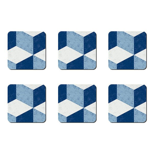 Denby Blue Geometric Square Set Of 6 Coasters