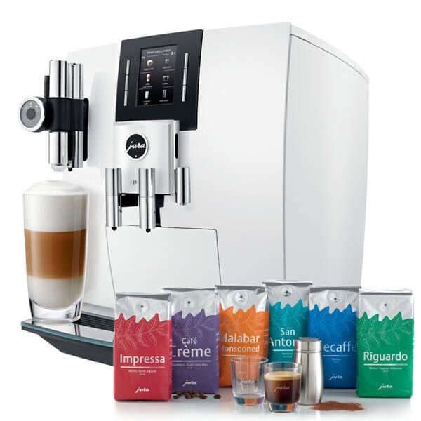 Jura J6 Piano White Automatic Coffee Machine with FREE Gift