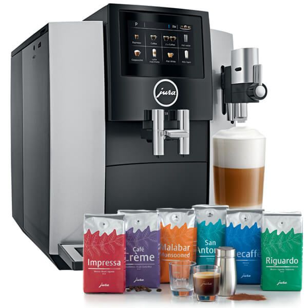 Jura S8 Moonlight Silver Automatic Coffee Machine with FREE Gift
