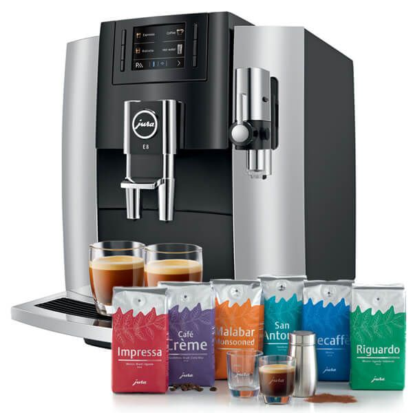 Jura E8 Chrome Automatic Coffee Machine with FREE Gift