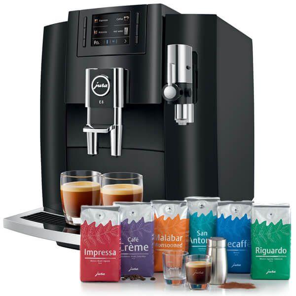 Jura E8 Piano Black Automatic Coffee Machine with FREE Gift