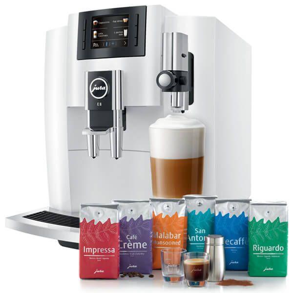 Jura E8 Piano White Automatic Coffee Machine with FREE Gift