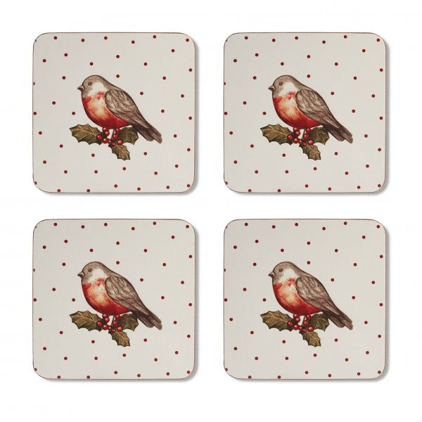 Cooksmart Red Red Robin Set Of 4 Coasters