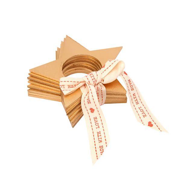 Dexam Yuletide Gold Star Set Of 4 Wooden Napkin Rings