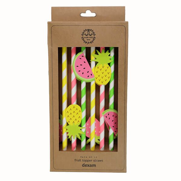 Dexam Summer Garden Pack Of 12 Fruit Topper Straws