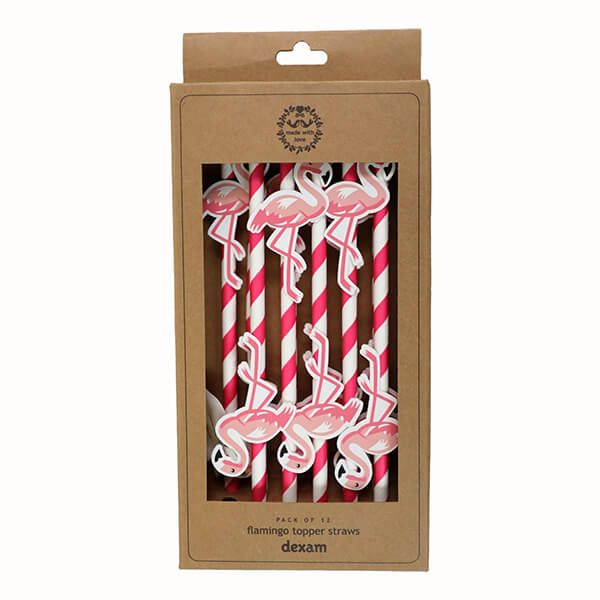 Dexam Summer Garden Pack Of 12 Flamingo Topper Straws