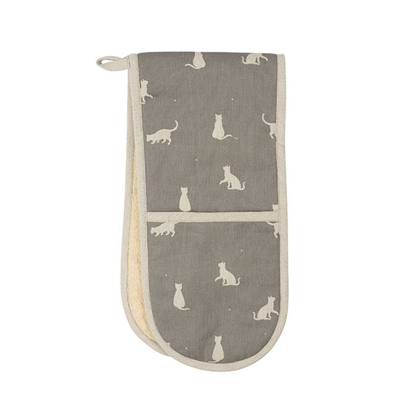 Dexam Vintage Happy Cats Double Oven Glove Slate