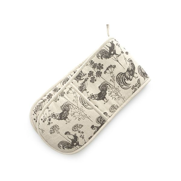 Dexam Vintage Roosters Double Oven Glove Brown