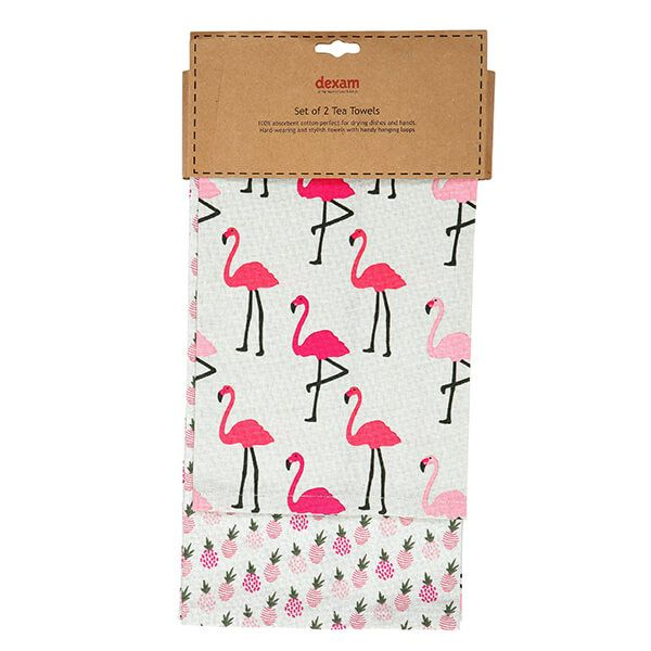 Dexam Flamingo Set Of 2 Tea Towels Pink