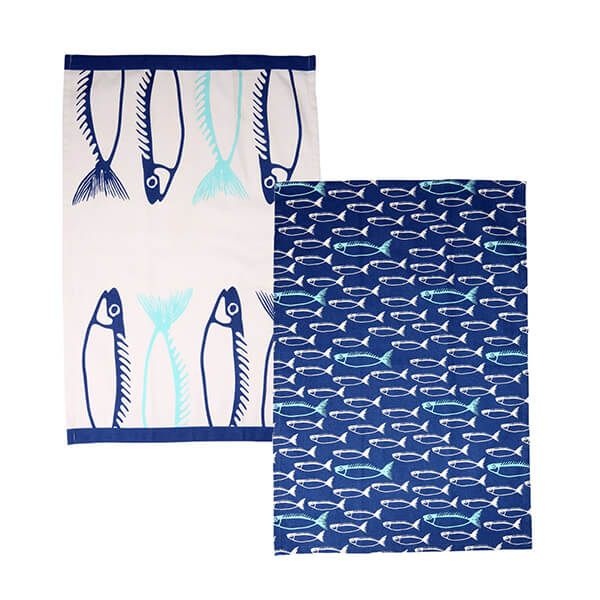 Dexam Fish Set Of 2 Tea Towels Marine Blue