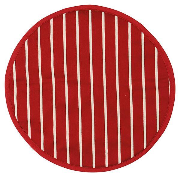 Dexam Rushbrookes Butchers Stripe Round Hob Cover Red