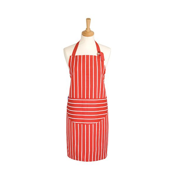 Dexam Rushbrookes Classic Butchers Stripe Adult Apron Red