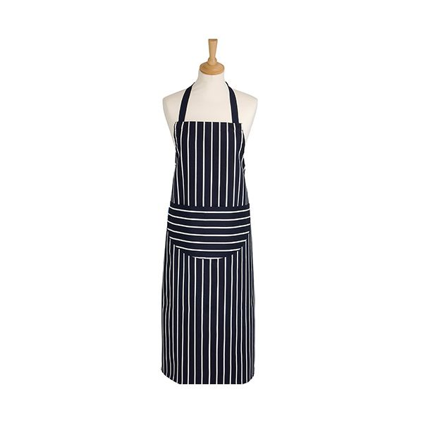 Dexam Rushbrookes Classic Butchers Stripe Adult Apron Long Navy