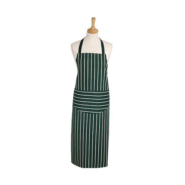 Dexam Rushbrookes Classic Butchers Stripe Adult Apron Long Green