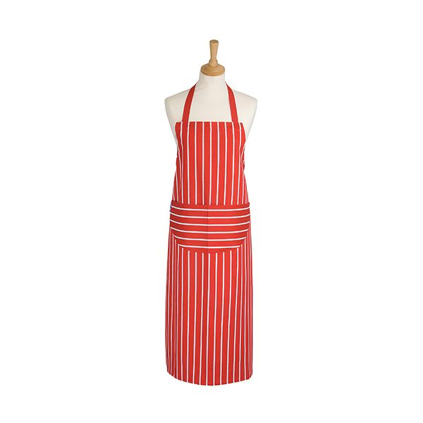 Dexam Rushbrookes Classic Butchers Stripe Adult Apron Long Red