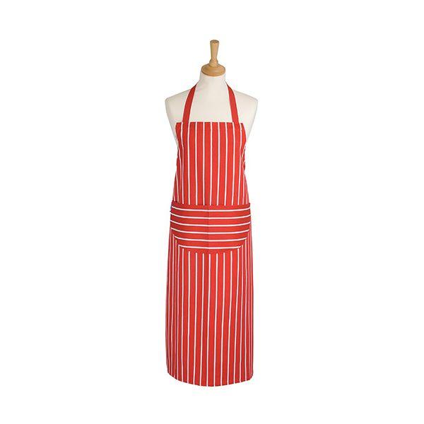 Dexam Rushbrookes Classic Butchers Stripe Adult Apron Long Red