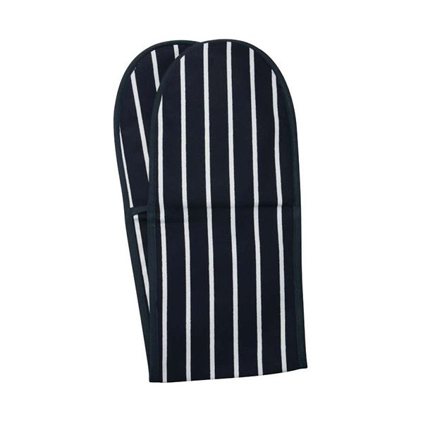 Dexam Rushbrookes Classic Butchers Stripe Double Oven Glove Blue